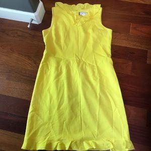 Mary McFadden 16w ruffle dress bright yellow midi